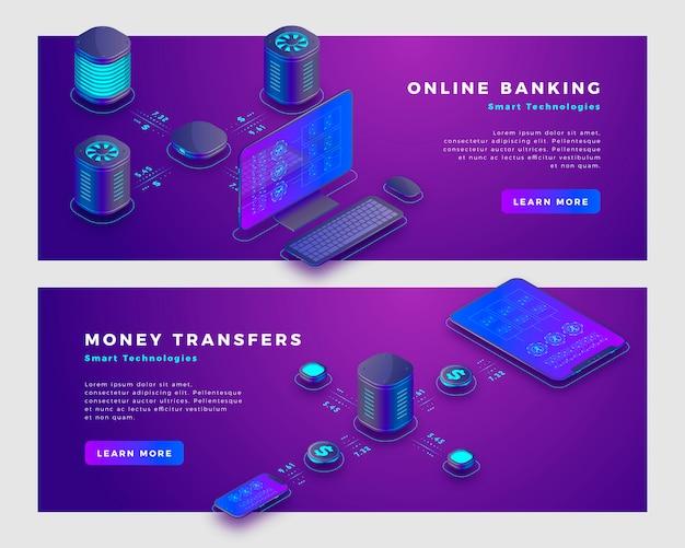 Opération de transfert d'argent et concept de banque en ligne. Vecteur Premium
