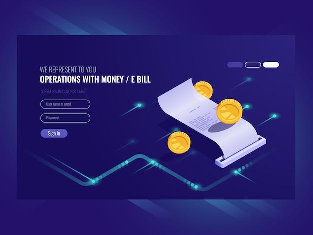 Opérations avec de l'argent, facture électronique, pièce de monnaie, transaction chash Vecteur gratuit