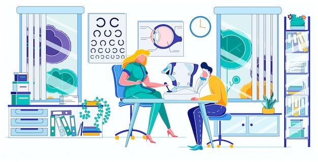 Ophtalmologiste Examinant La Vision D'un Patient Masculin Vecteur Premium