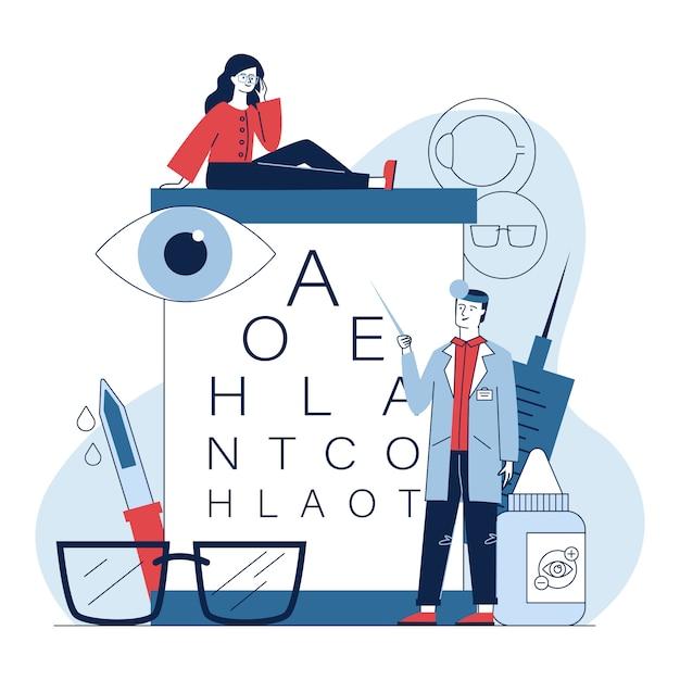 Ophtalmologiste Mâle Vérifiant La Vue De La Femme Vecteur gratuit