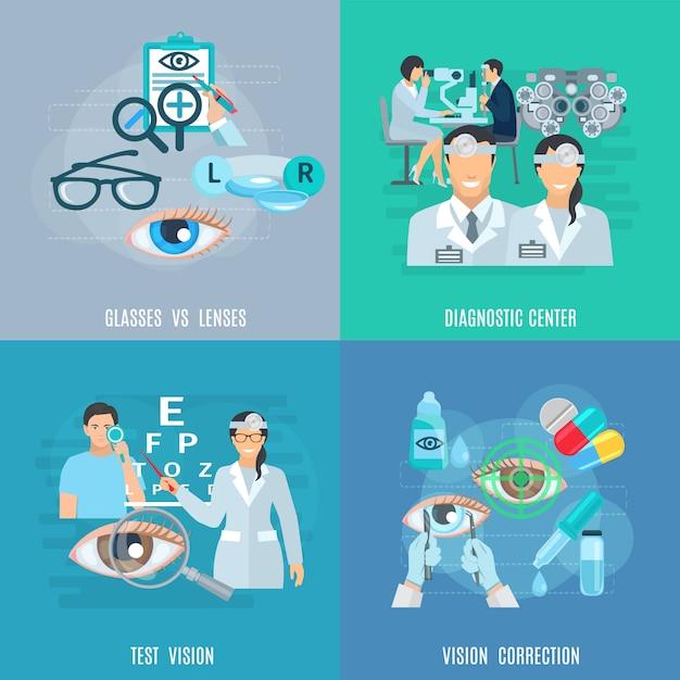 Ophtalmologiste Oculologue Plat Icons Square Vecteur gratuit