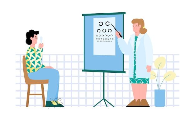 Ophtalmologiste Ou Optométriste Examinant Le Patient Vecteur Premium