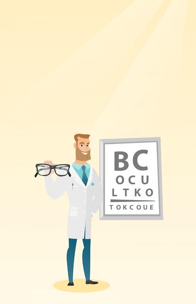 Ophtalmologiste Professionnel Tenant Des Lunettes. Vecteur Premium