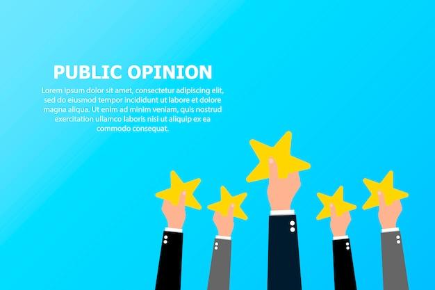 L'opinion publique de nombreuses personnes et le texte en haut à gauche. Vecteur Premium