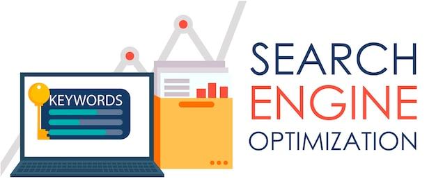 Optimisation du moteur de recherche. ordinateur portable avec un dossier de documents, de graphiques et de clés. Vecteur gratuit