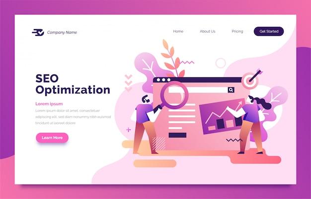 Optimisation seo page de destination pour le web Vecteur Premium