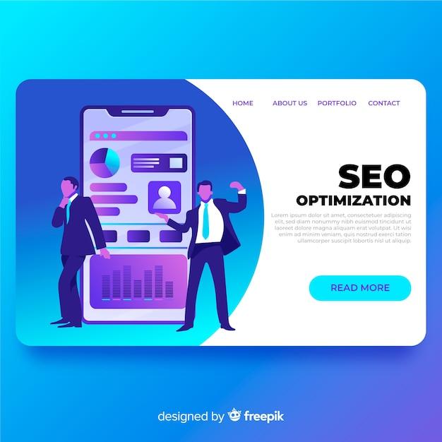 Optimisation seo page de destination Vecteur gratuit