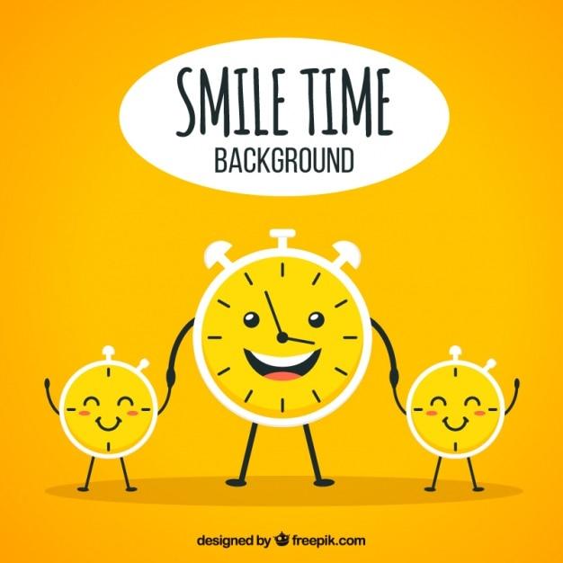 Optimiste fond avec des horloges sourire Vecteur gratuit