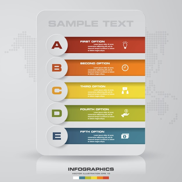 Option infographie 5 étapes. Vecteur Premium