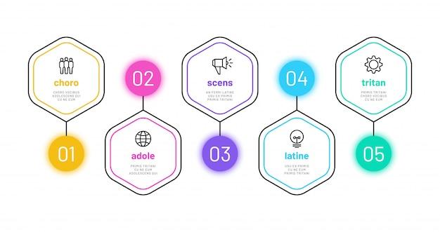Option De Ligne Infographique. Infographie De 5 Numéros, Graphique Des étapes Du Processus Métier Avec Des Icônes De Contour. Modèle De Diagramme De Financement De Projet Vecteur Premium