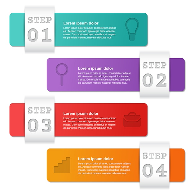 Option De Modèles D'infographie, Pièces, étapes. Affaires . Vecteur Premium
