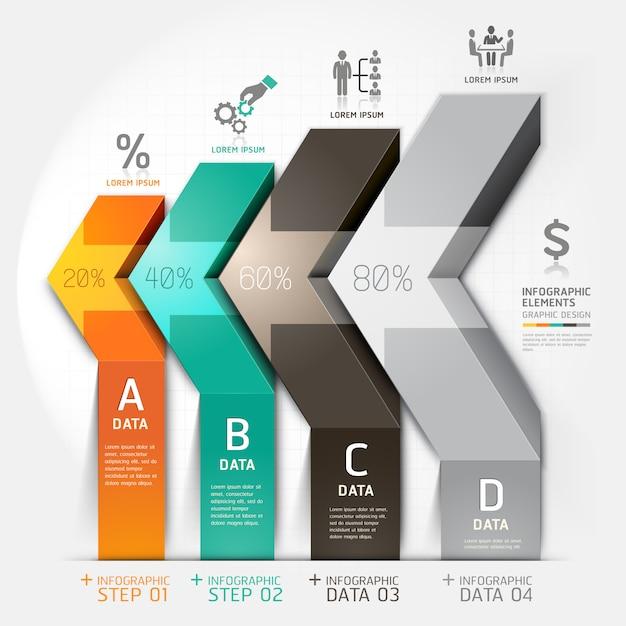 Options d'étape d'affaires de diagramme d'escalier de flèche 3d. Vecteur Premium