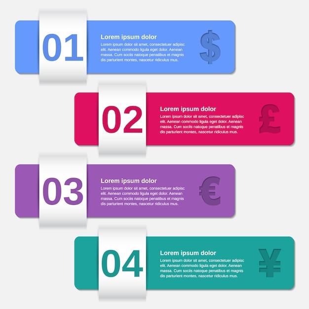 Options De Modèles D'infographie De Flèches. Vecteur Premium