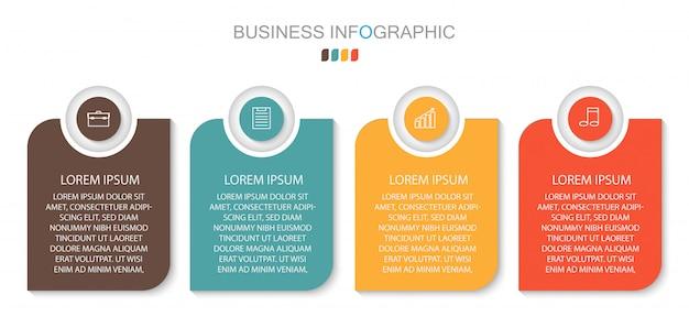 Options de numéro de modèle de cercle d'infographie. concept d'entreprise avec 4 options, étapes ou processus. Vecteur Premium
