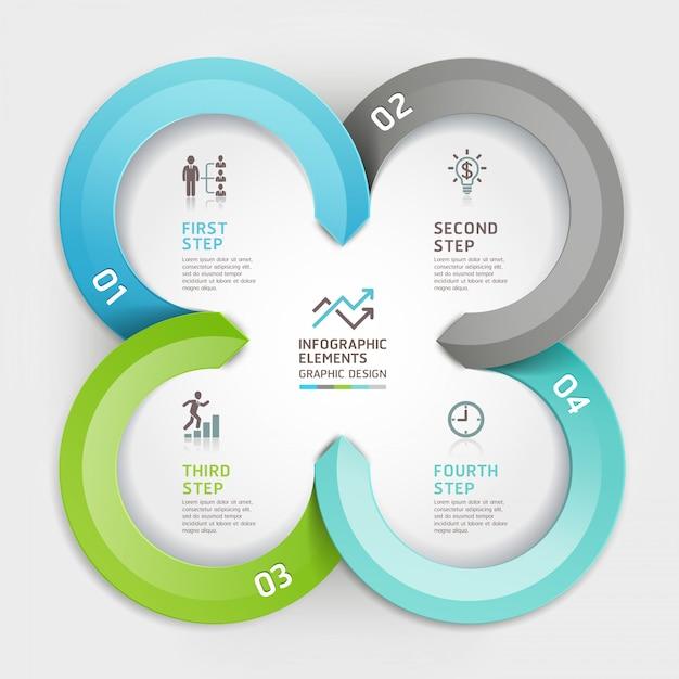 Options de style origami cercle d'affaires moderne infographique. Vecteur Premium