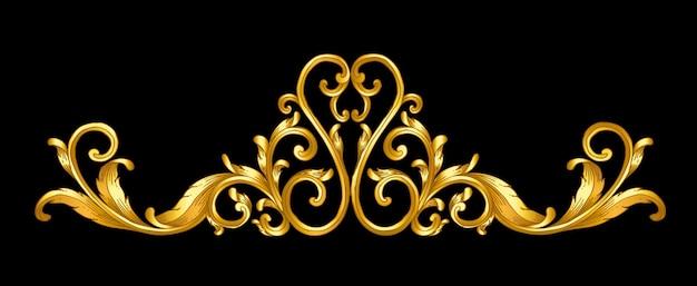 Or baroque cadre défilement main tirage Vecteur Premium