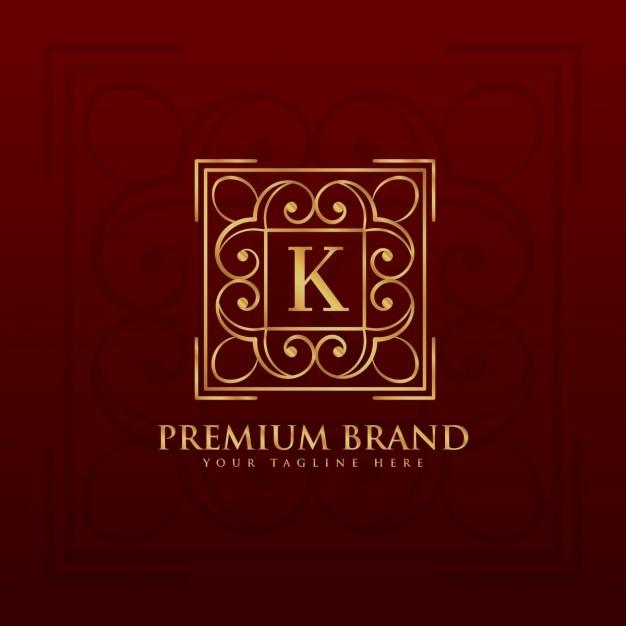 Or emblème monogramme de conception de logo pour la lettre k Vecteur gratuit
