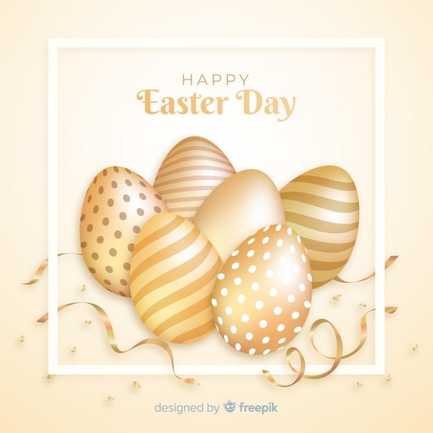 Or, joyeuses pâques, fond, jour Vecteur gratuit
