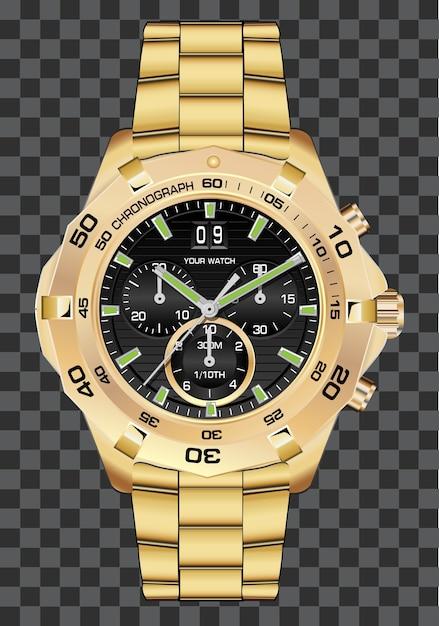 Or montre horloge chronographe luxe fond. Vecteur Premium