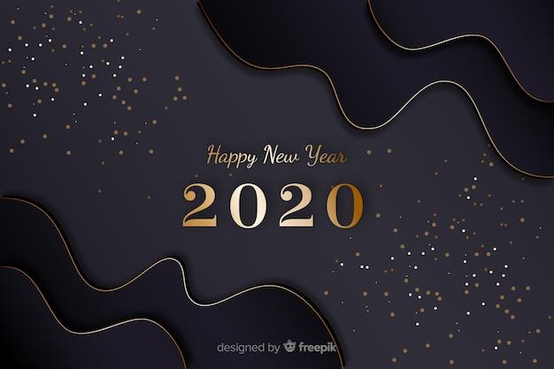 Or nouvelle année 2020 avec des cadres de vagues Vecteur gratuit