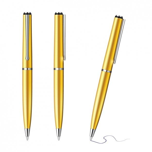 Or stylos collection Vecteur gratuit
