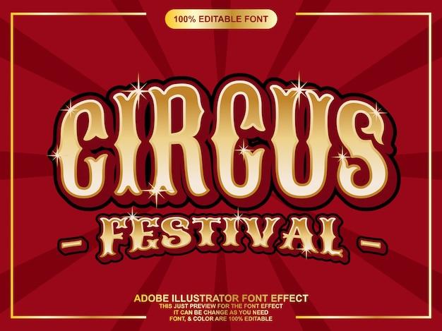 Or texte de festival de cirque éditable effet de police de typographie Vecteur Premium