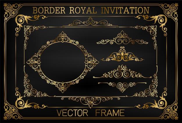 Or vintage vector set éléments floraux Vecteur Premium