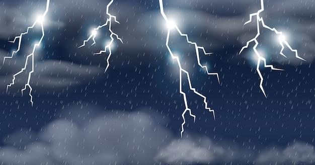 Orage sur un ciel pluvieux Vecteur Premium
