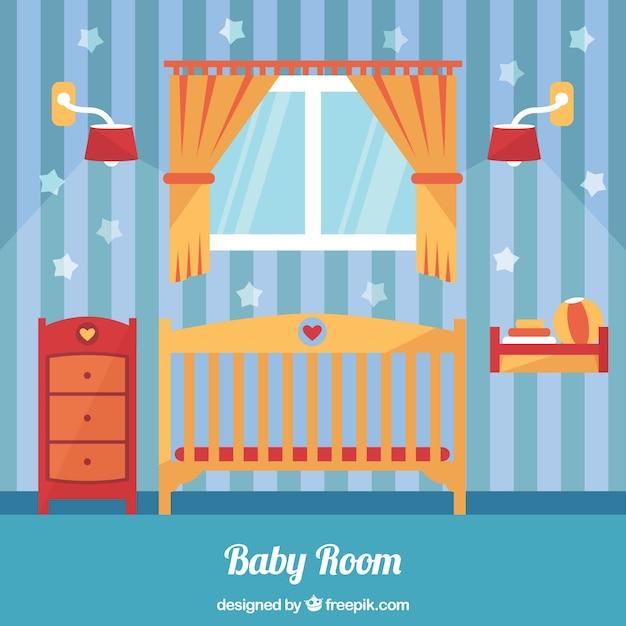 Orange et bleu chambre de bébé en design plat | Télécharger ...