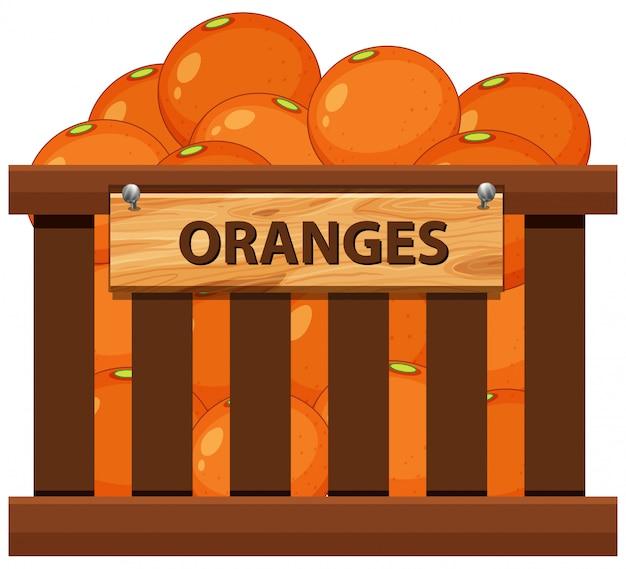 Orange dans la caisse en bois Vecteur Premium