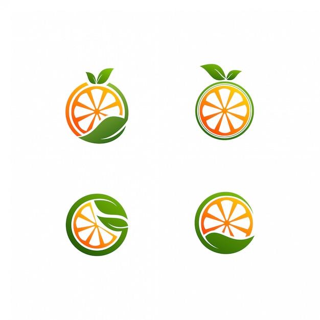 Orange douce avec un logo vectoriel de feuille Vecteur Premium