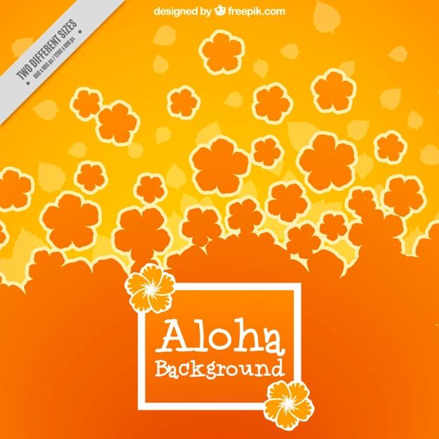Orange fleurs hawaïennes fond Vecteur gratuit