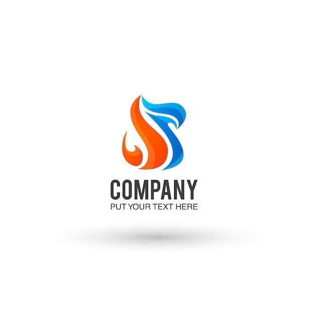 Orange Et Fond Bleu Logo Vecteur gratuit