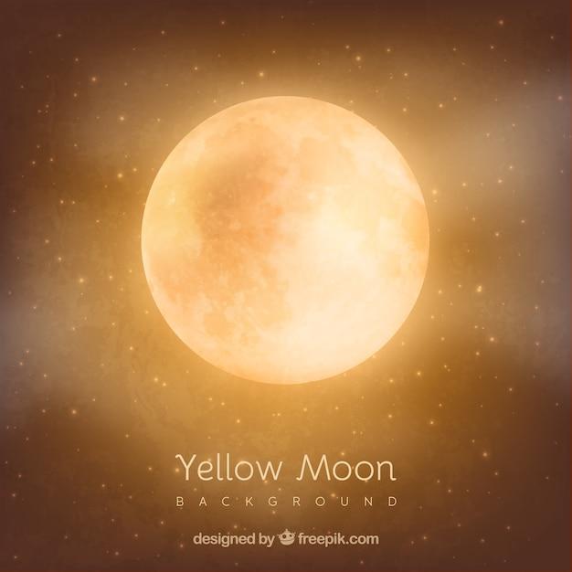 Orange Fond De La Lune Vecteur Premium