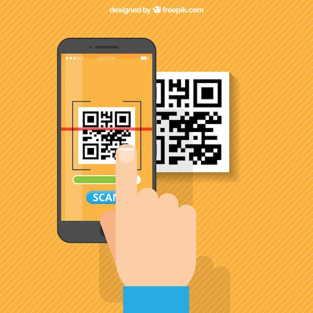 Orange Fond Rayé De Numérisation Portable Qr Code Vecteur gratuit