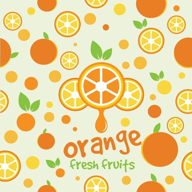 Orange fraîche Vecteur Premium