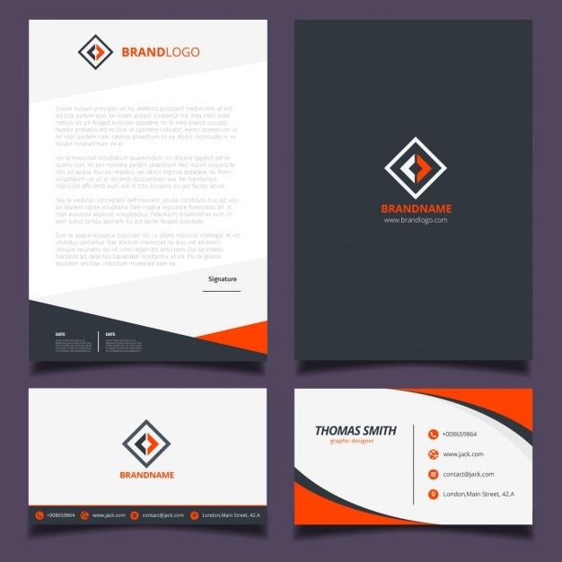 Orange et identité visuelle d'entreprise noir Vecteur gratuit