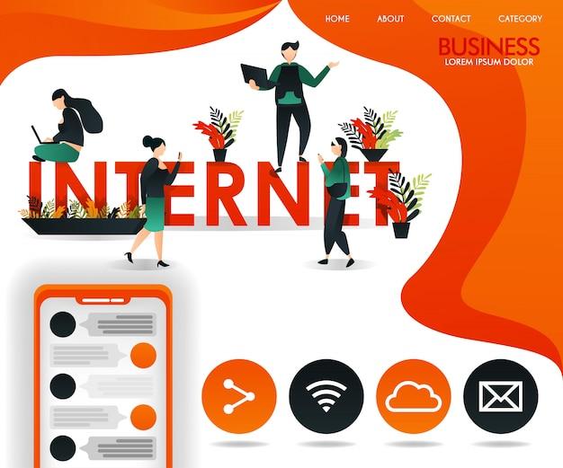 Orange web page avec des thèmes de connexion et internet Vecteur Premium