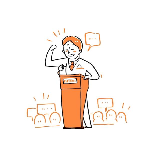 Orateur Parlant De La Tribune, Orateur Public. Vecteur Premium