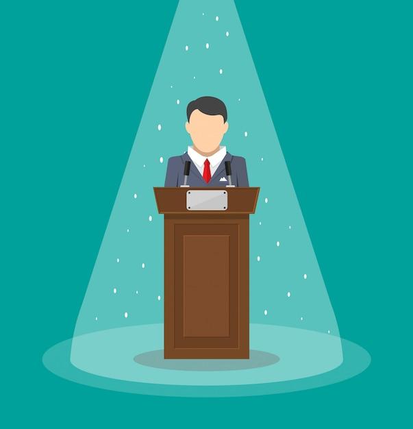 Orateur Parlant De La Tribune Vecteur Premium