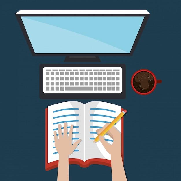 Ordinateur de bureau avec des icônes d'apprentissage faciles Vecteur gratuit