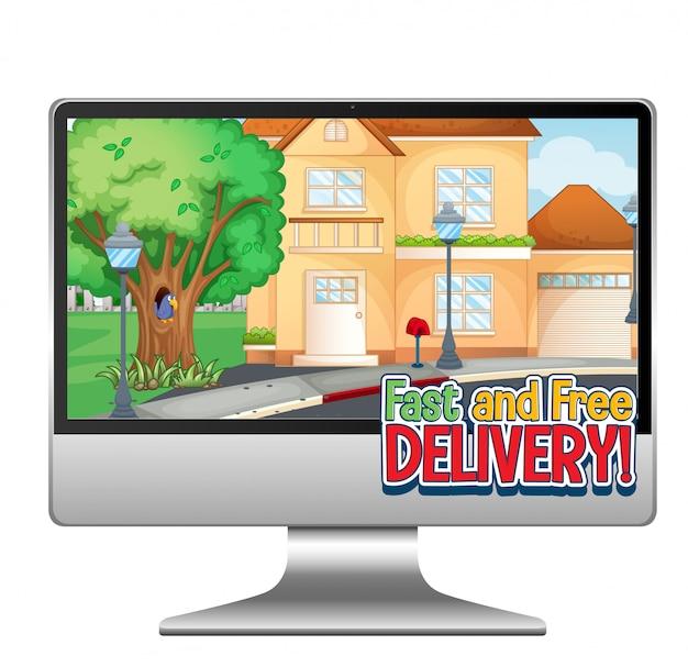 Ordinateur Avec Logo De Livraison Rapide Et Gratuite Vecteur gratuit