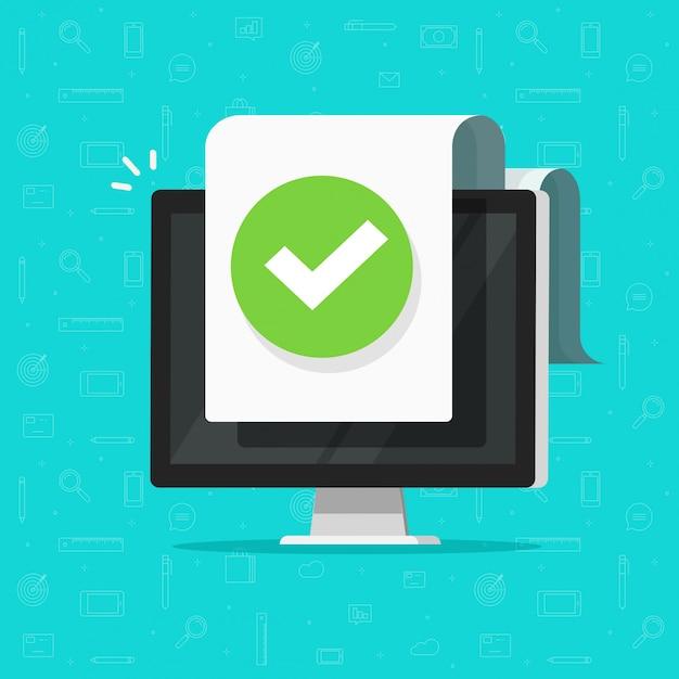Ordinateur avec notification par coche ou coche sur un document ou une icône de fichier approuvé Vecteur Premium