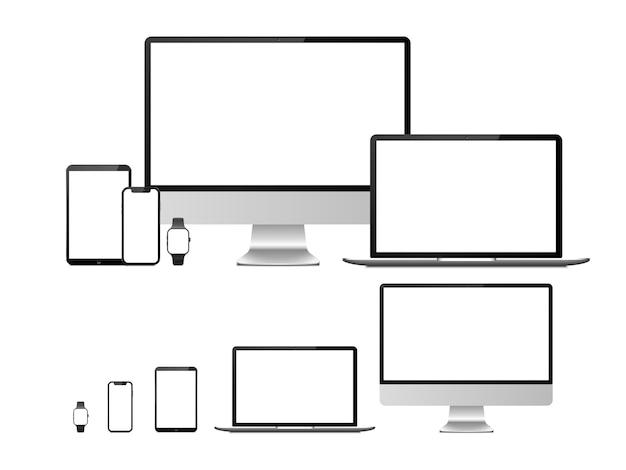 Ordinateur, ordinateur portable, tablette, smartphone et smartwatch avec écran blanc vide. Vecteur Premium
