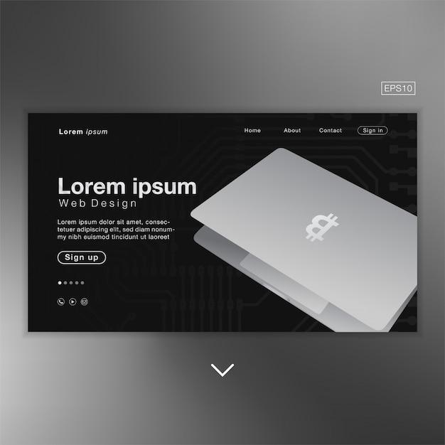 Ordinateur Portable Bitcoin Noir Abstrait Pour Page D'accueil Vecteur Premium
