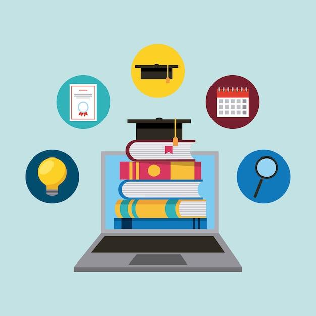 Ordinateur Portable Avec E-livres Chapeau De Graduation D'apprentissage En Ligne L'éducation Vecteur Premium