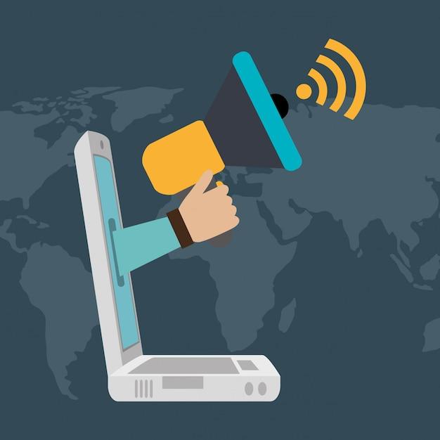 Ordinateur portable avec des icônes de commerce électronique Vecteur gratuit