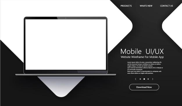 Ordinateur Portable Moderne Avec écrans D'application Vierges. Vecteur Premium
