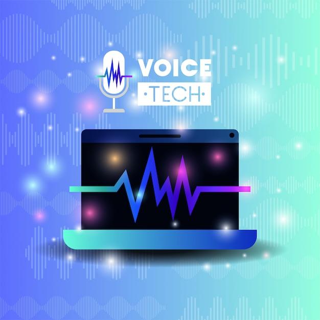 Ordinateur portable avec technologie de reconnaissance vocale Vecteur Premium