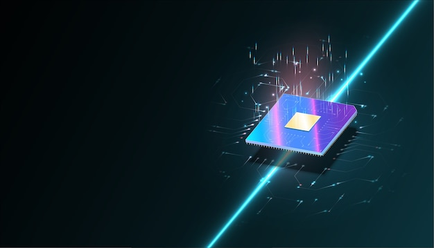 Ordinateur Quantique, Grand Traitement De Données, Concept De Base De Données Bannière Isométrique Pcp. Processeurs Informatiques Centraux Vecteur Premium